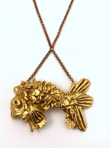 1970s Kenneth Jay Lane Fish Pendant Necklace