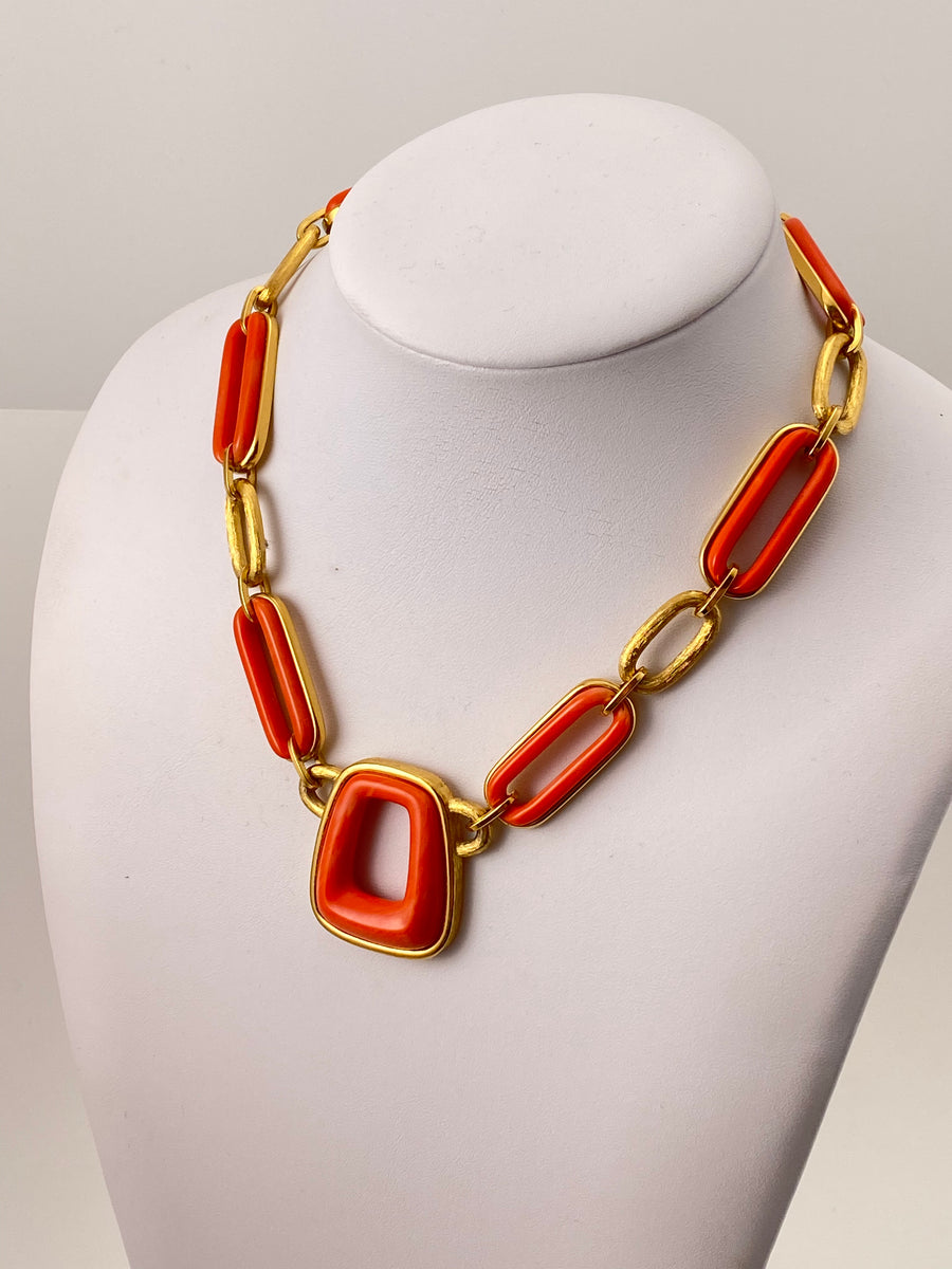 Coral Modernist Givenchy Necklace 1970s