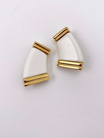 1970s Givenchy White and Gold Earrings