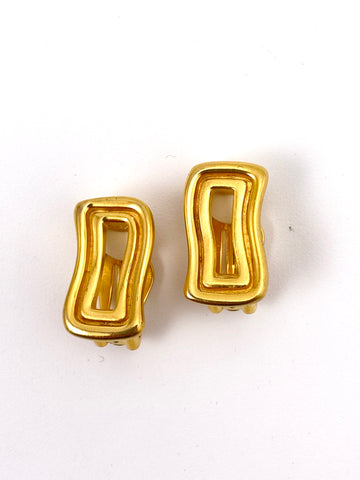 Vintage Givenchy Goldtone Geometric Earrings