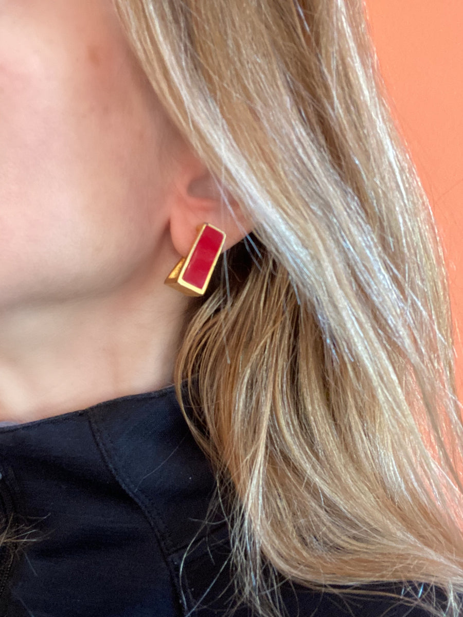 1970s Red Enamel Givenchy Earrings