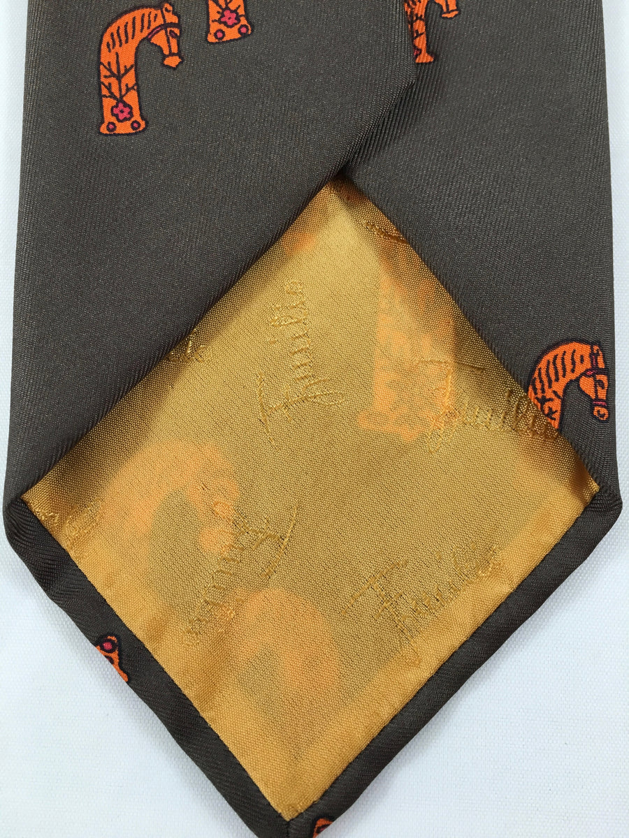 Pucci 1960s Silk Brown Tie with Abstract Orange Horse Heads