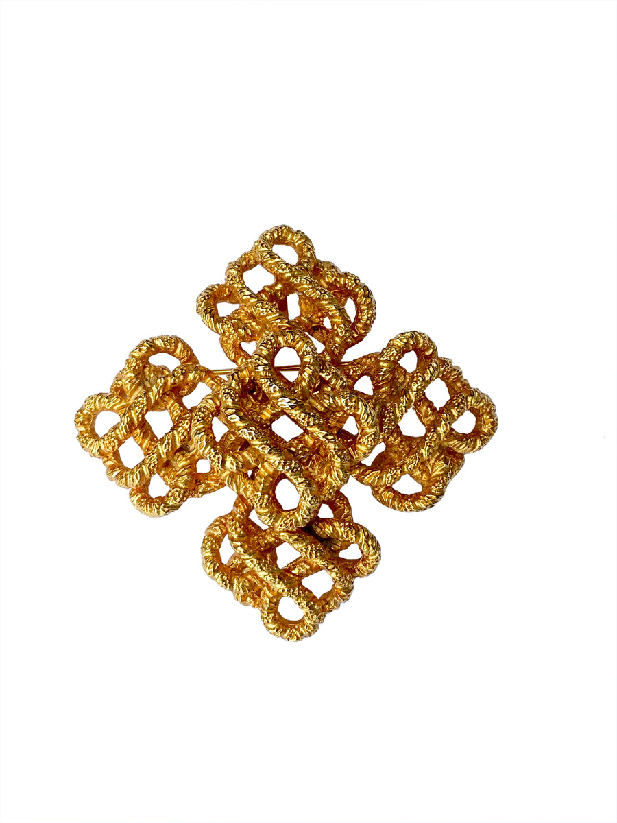 Vintage Lucien Piccard Rope Textured Cross Brooch/Pendant