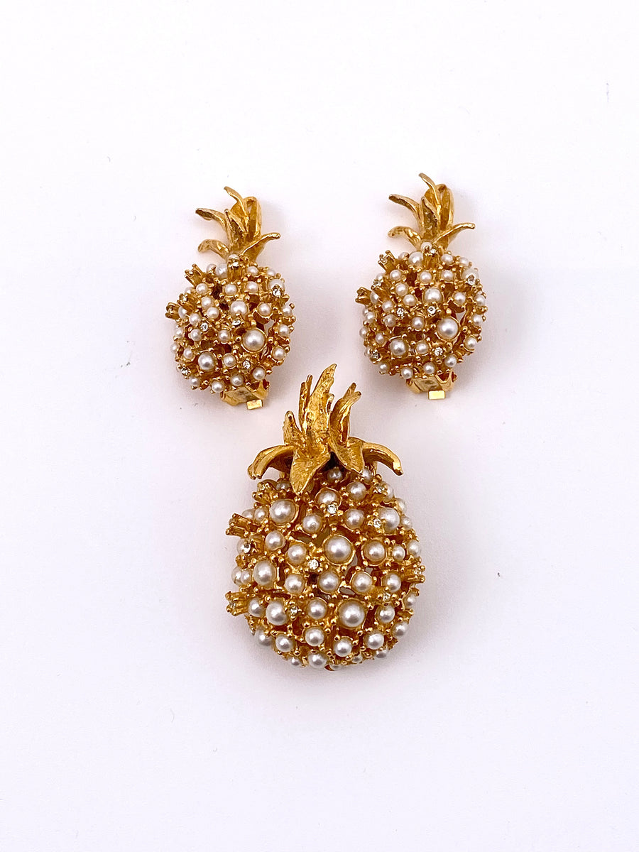 1960s Pineapple Brooch and Earrings set Alice Caviness
