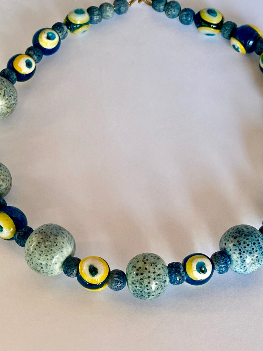 Vintage Blue Stone and Glass Evil Eye Beaded Necklace