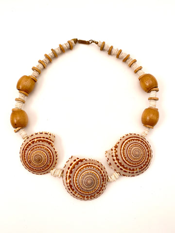 1970s Miriam Haskell Sun Dial Shell Necklace