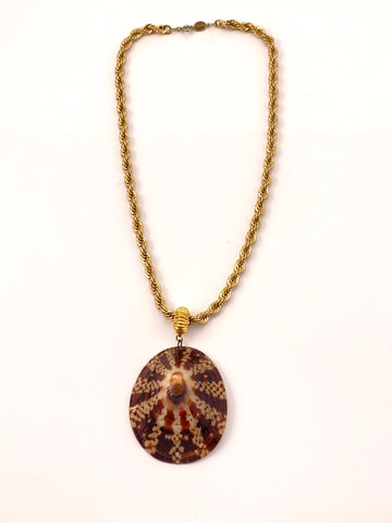 Brown Shell Pendant Necklace Napier