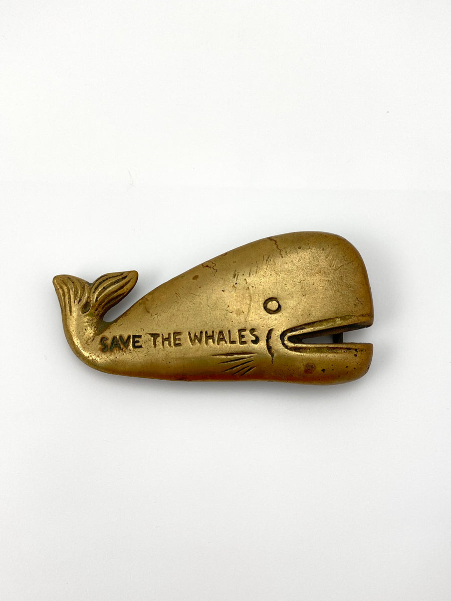1970s Save the Whales Brass Belt Buckle