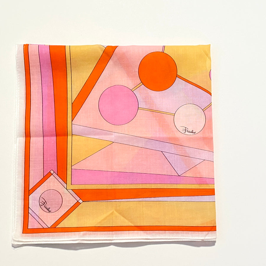Vintage Orange and Pink Pucci Small Cotton Scarf/Handkerchief Original Packaging