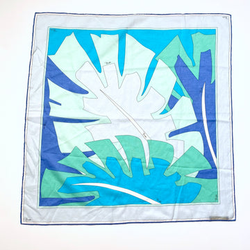Vintage Blue and Green Pucci Small Cotton Scarf