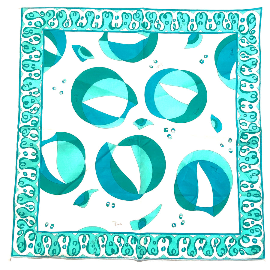 Vintage Turquoise and White Pucci Small Cotton Scarf/Handkerchief