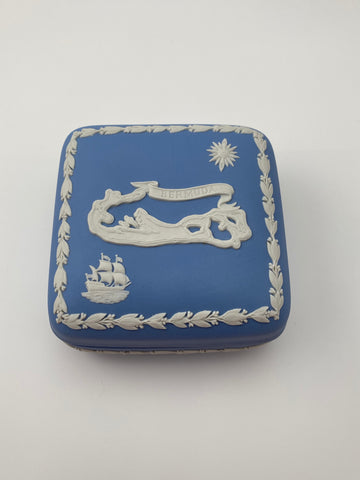 Vintage Blue Bermuda Wedgwood Jasperware Jewelry/Trinket Box