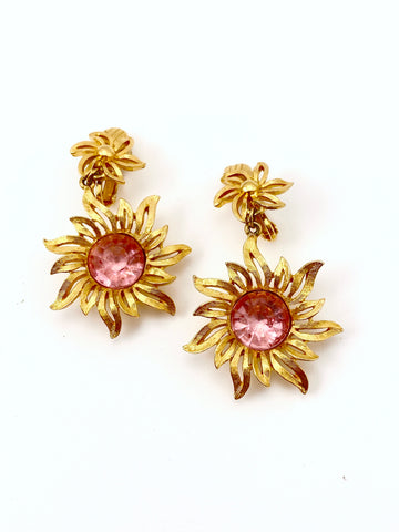 1980s Pink Flower Dangle Earrings Trifari