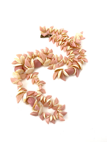 1950s Miriam Haskell Shell and Pink Glass Bead Necklace
