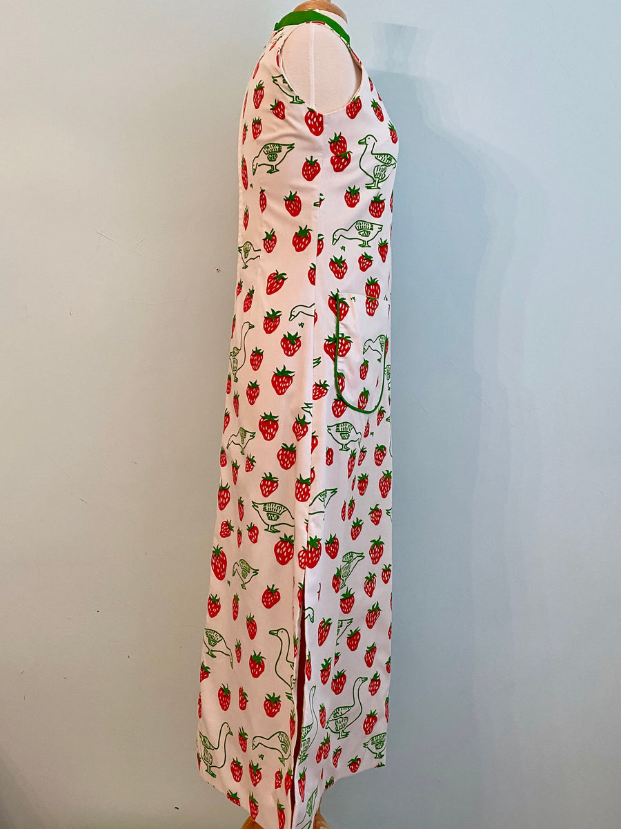 1970s Vested Gentress Strawberry Maxi Dress