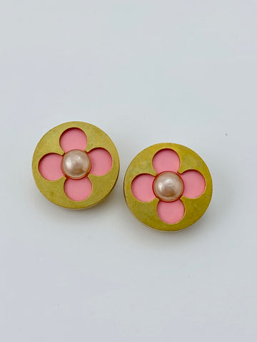 Chanel Pink and Gold Abstract Flower Earrings with Pearl Centers
