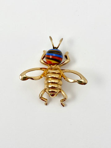 1970s Castlecliff Bee Brooch with Blue and Orange Glass Head