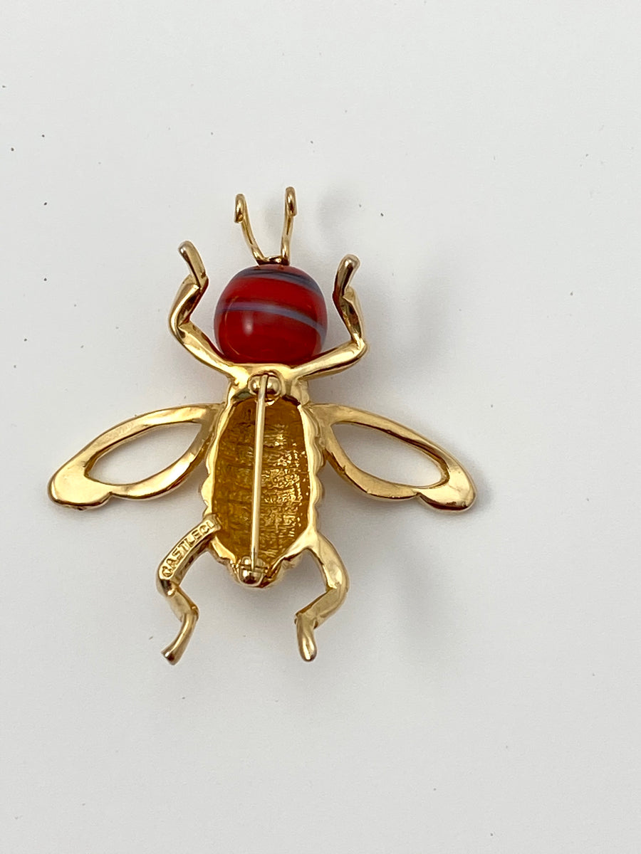 1970s Castlecliff Bee Brooch with Red Glass Head