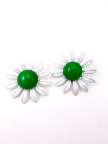 Large 1960s Green and White MOD Enamel Earrings