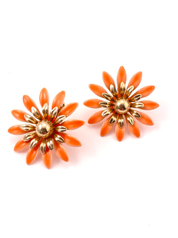 1960s Orange Enamel Flower Earrings