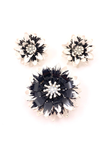 1960s Trifari Black and White Enamel Flower Earring and Brooch Set