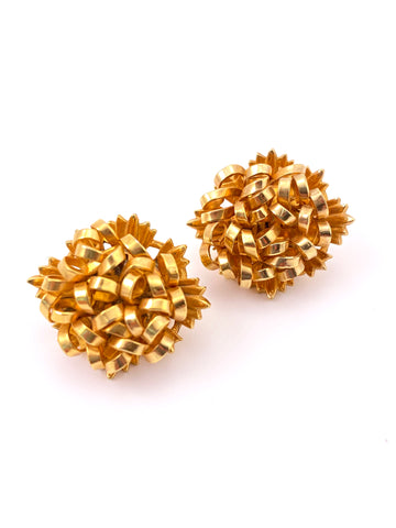 1950s Goldtone Hydrangea Earrings