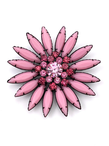 1960s Large Pink Glass Flower Brooch