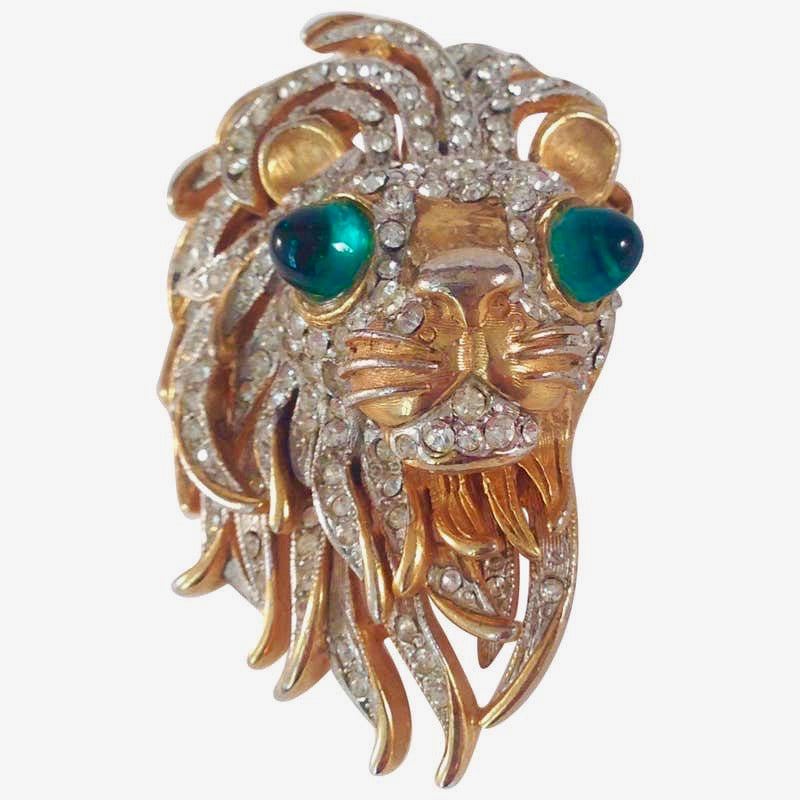 Kenneth Jay Lane K.J.L. Lion Head Brooch 1960s