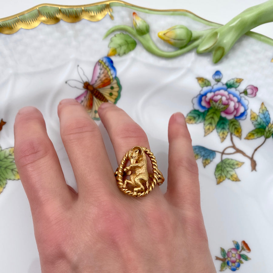 1960s Trifari Aries Zodiac Ring