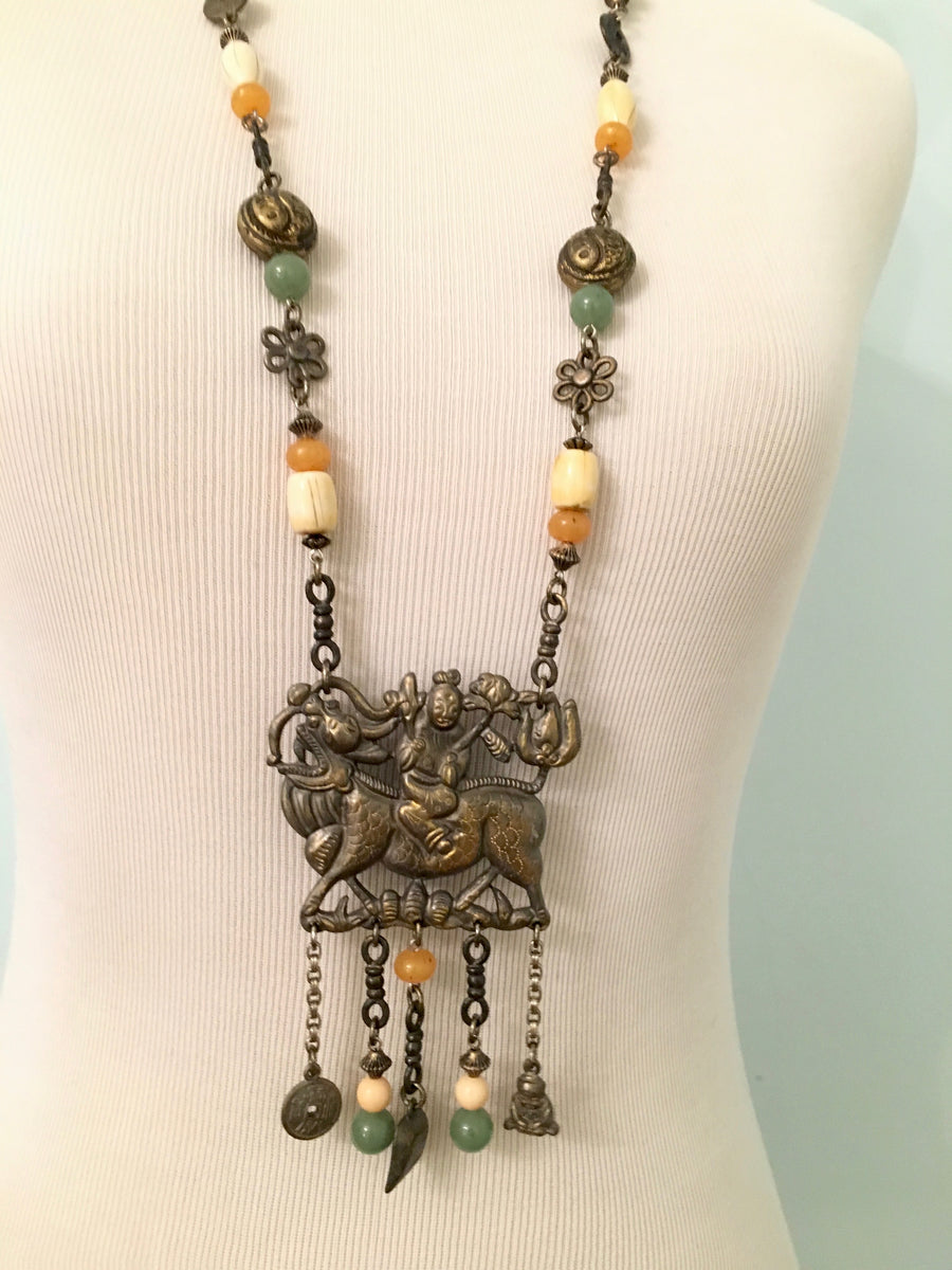 Ben Amun Asian Influenced Pendant Necklace 1980s