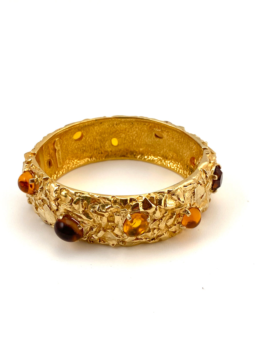 1960s Castlecliff Textured Bracelet with Amber Colored Stones