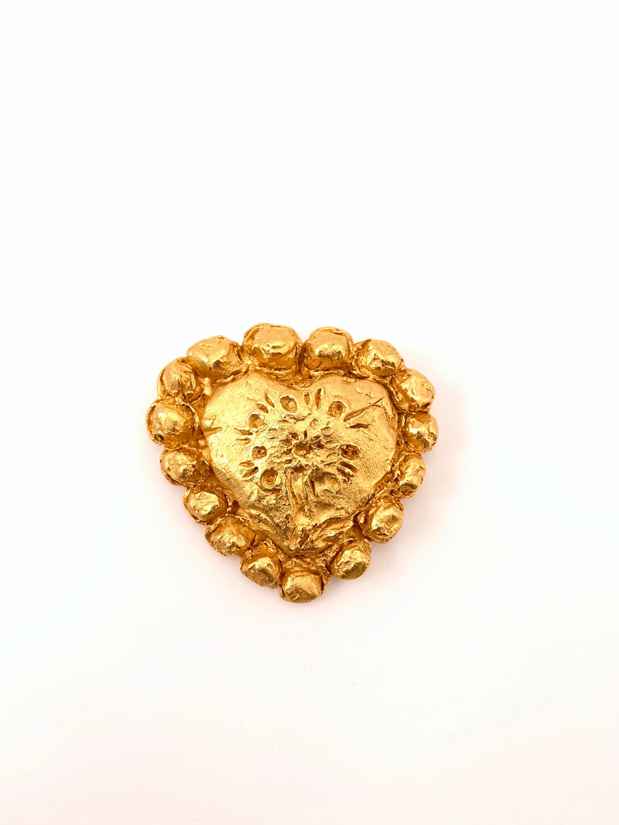 Christian LaCroix Gold Tone Heart Brooch