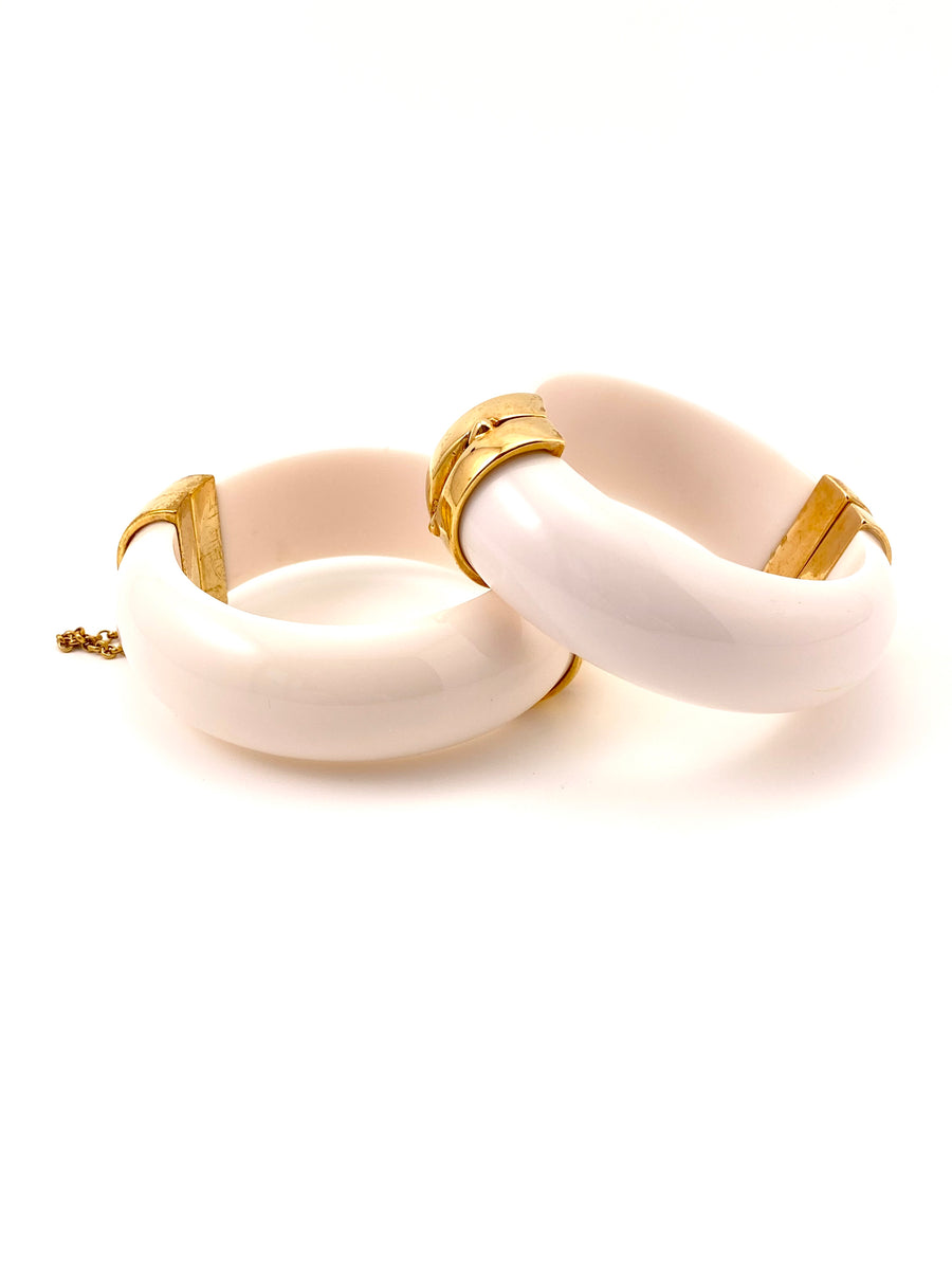 Pair of Vintage White Resin Bangle Bracelets