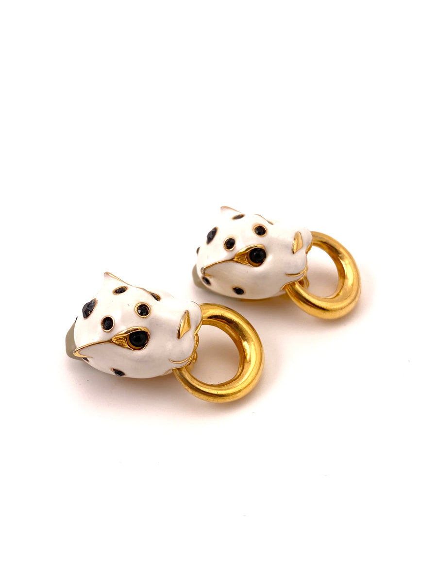 Ciner 1980s White Leopard Earrings