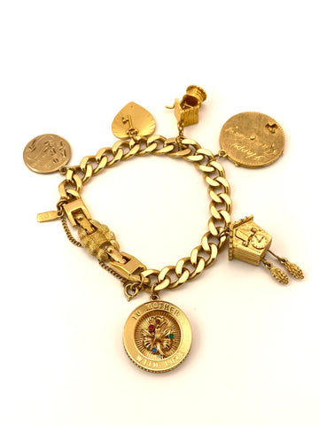 1960s Gold Tone 'Mother' Charm Bracelet