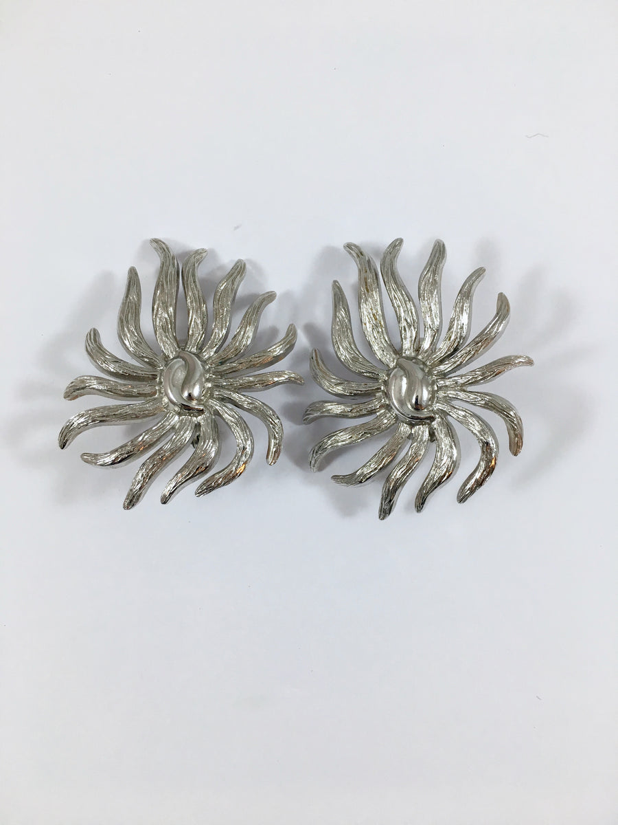 Monet Silvertone Earrings 1950s