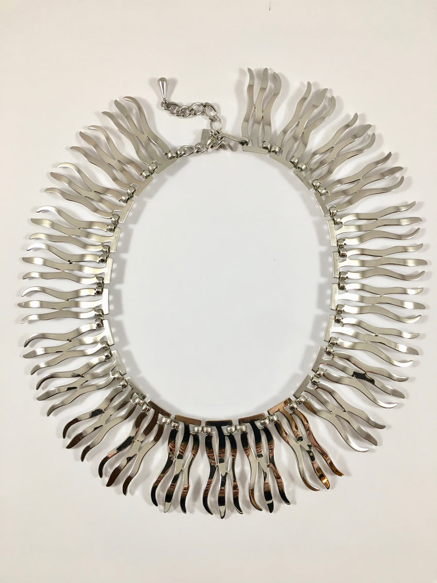 Monet Silvertone Collar Necklace 1950s