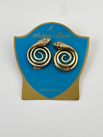 Whiting & Davis Gold Snake Earrings on Original Card 1963
