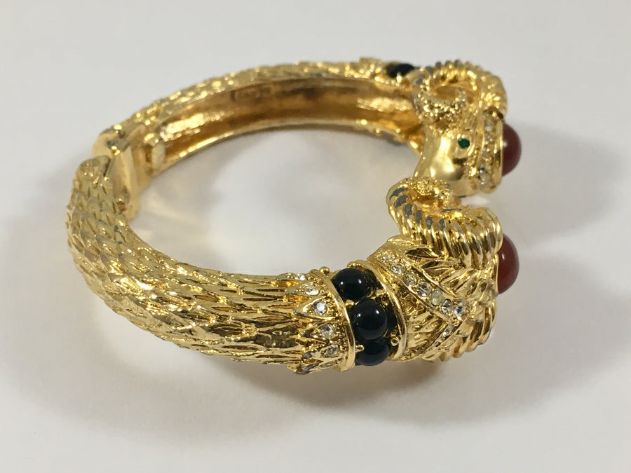 1970s Craft Double Rams Head Jeweled Bracelet
