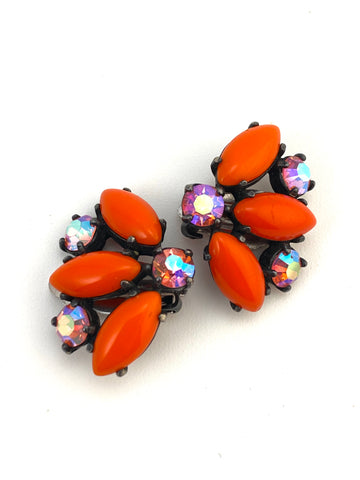 1960s Orange and Pink Elsa Schiaparelli Earrings