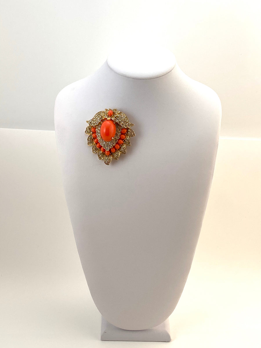 Large Vintage Kenneth Jay Lane Coral and Rhinestone Brooch