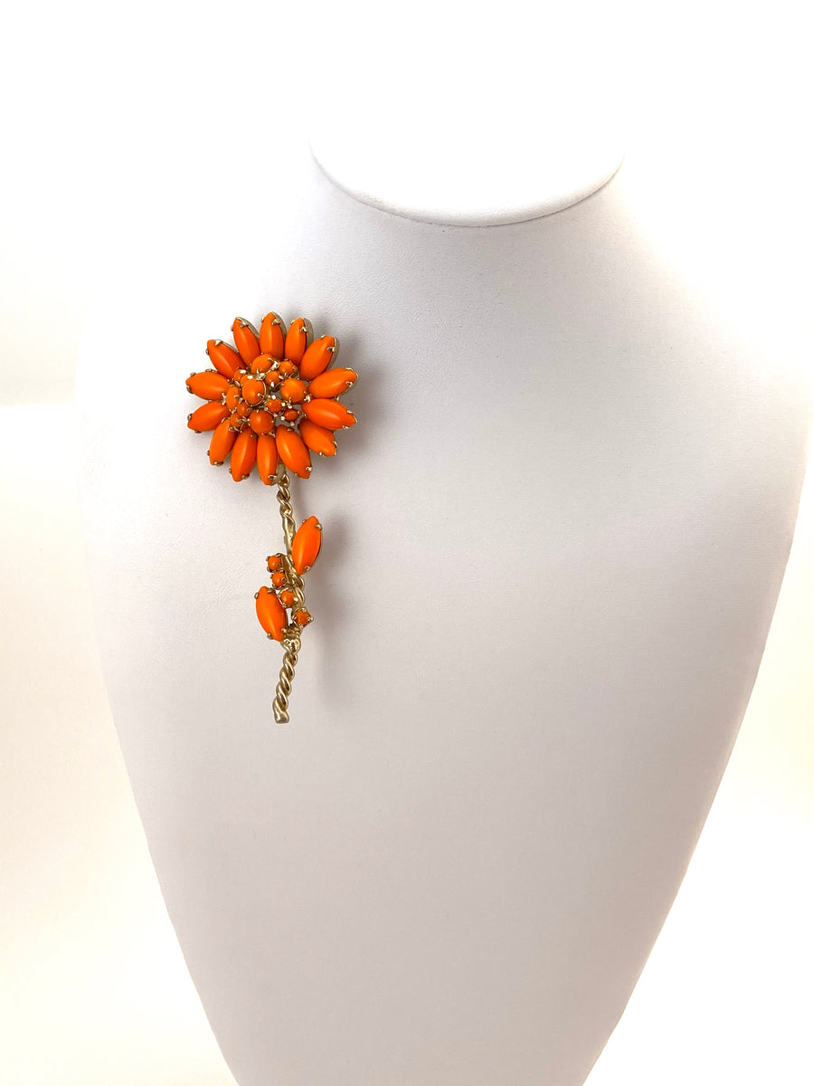 Large 1960s Orange Flower Brooch