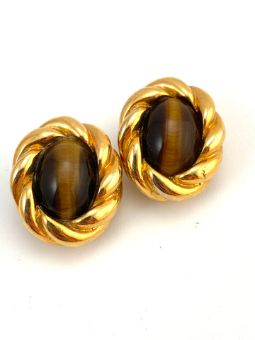 Vintage Kenneth Jay Lane Tiger's Eye Earrings