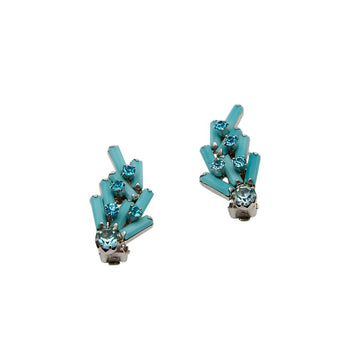 Weiss 1950s Turquoise Glass Earrings