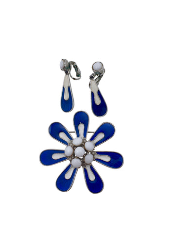 1960s MOD Flower Brooch and Earrings Set