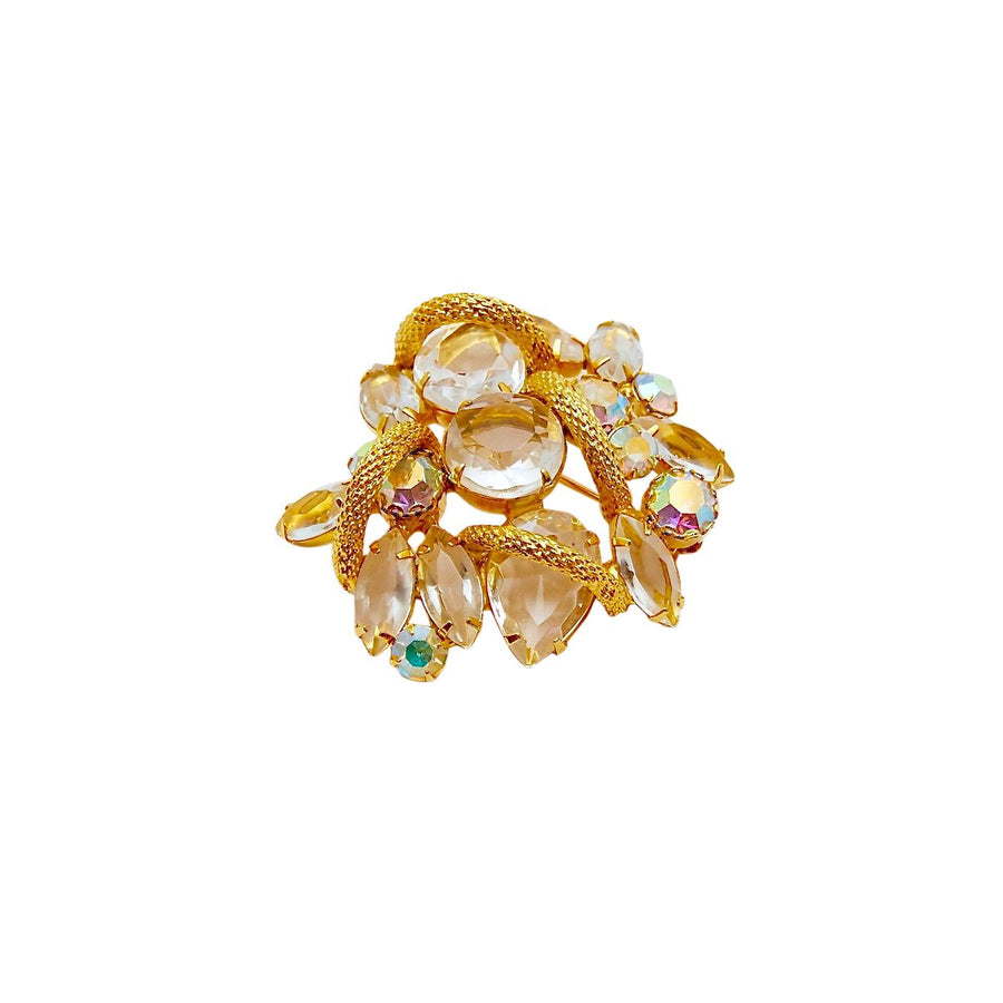 1960s Juliana Clear Crystal and Rhinestone Brooch