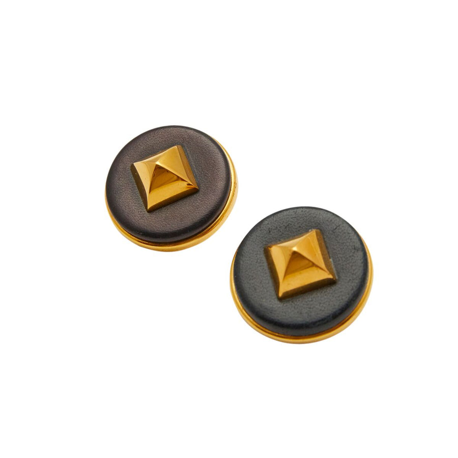 Hermes Medor Black Leather Stud Earrings