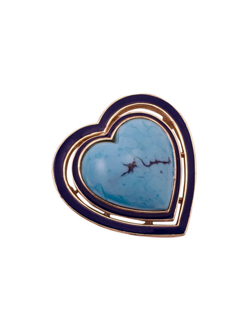 Ciner Turquoise Heart Brooch Pendant