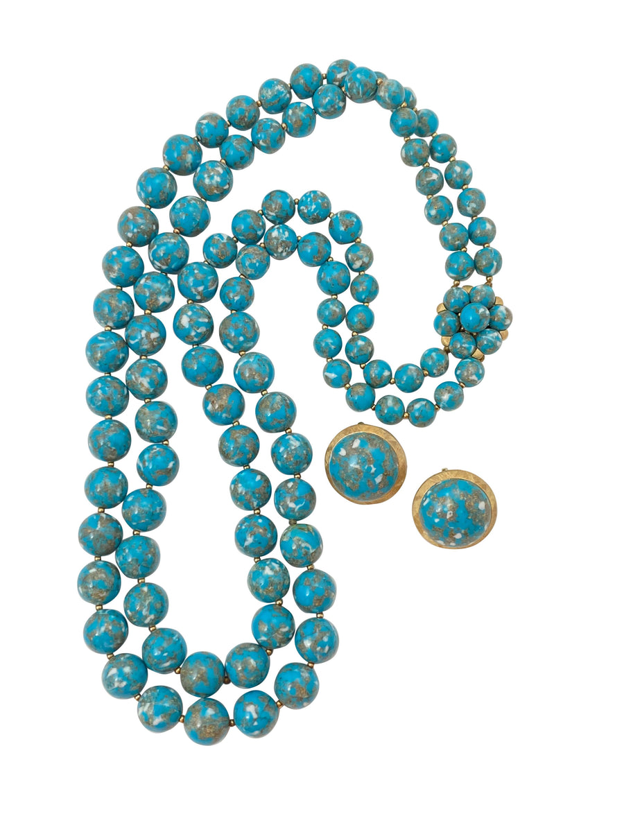 1960s Trifari Turquoise Double Strand Necklace and Matching Earrings Set