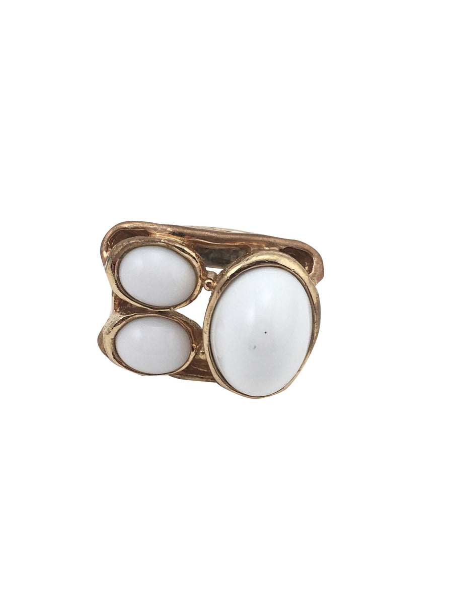 Large Panetta Mid-Century Modern White Glass Stone Ring